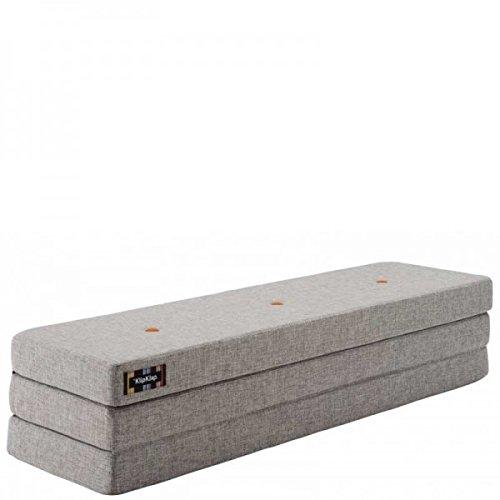 by KlipKlap 3 fold Multipurpose Furniture - Multigrey With Orange Button, Normal length 180 cm