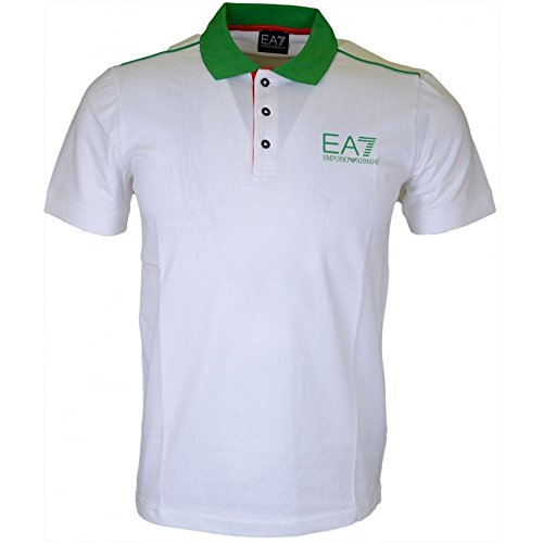 Polo uomo EA7 Emporio Armani 7 ea bianco verde 273967 slim jersey cotone italia - Taglia XL