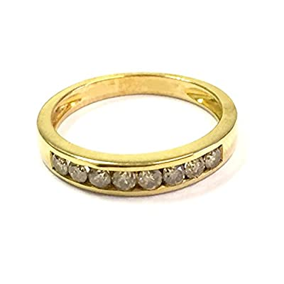 Brand New 0.40 Carat Channel Set Round Diamond Half eternity Ring, 9k Yellow Gold