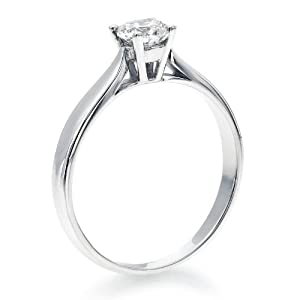 Solitaire Diamond Ring 1/3 ct, H Color, SI2 Clarity, GIA Certified, Round Cut, in 14K Gold / White