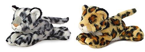 bundle-of-2-aurora-75-floppy-beanbag-wildcat-stuffed-animals-amazon-jaguar-snow-leopard