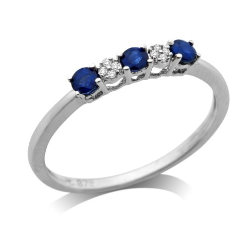 Miore 9ct White Gold Sapphire and Diamond Set Eternity Ring MSJ908R- Size O
