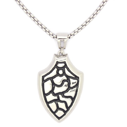 2 PIECE SET: Vintage 19-Inch Stainless Steel Rolo Chain Necklace With Textured Shield Pendant (LIFETIME WARRANTY)