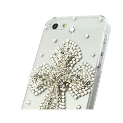 Wm King 1Pc Luxury Designe Bling Crystal Transparent Hard Back Phone Case Silver Handmade Cross For Iphone 5S