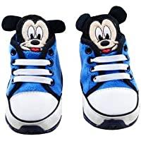 Baby Bucket TM Pre-Walker Shoes Light Weight Soft Sole Blue Color Mickey Mouse Booties (12-18 Months)