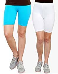 Goodtry Women's Cycling Shorts Pack of 2 Turquouise Blue-White