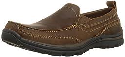 Skechers USA Men\'s Superior Gains Slip-On,Dark Brown,8.5 M US