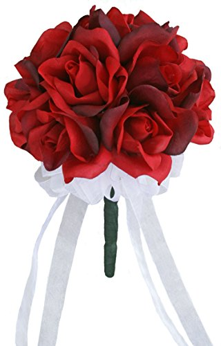 Red Silk Rose Toss Bouquet - Silk Wedding Toss Bouquet