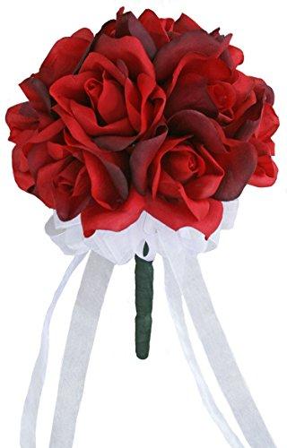 Red Silk Rose Toss Bouquet - Silk Wedding Toss Bouquet
