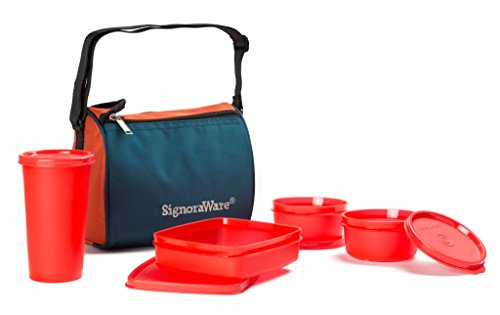 Signoraware Best Sapphire Plastic Lunch Box Set with Bag, 4 Pieces, Red