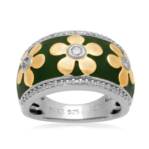 Sterling Silver Enamel Flower Diamond Ring (1/4 cttw, I-J Color, I2-I3 Clarity), Size 7