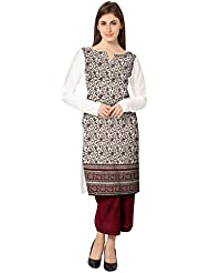 AHALYAA Multi Colored Full Sleeve And Boat Neck Faux Crepe Kurti
