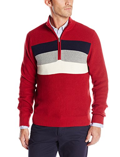 IZOD Men's Long Sleeve Chest Stripe Stratton Shaker Sweater, Red Dahlia, Medium