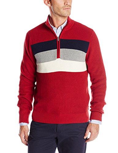 IZOD Men's Long Sleeve Chest Stripe Stratton Shaker Sweater, Red Dahlia, Medium
