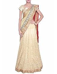 Kalki Fashion Beige lehenga saree adorn in thread work only on Kalki