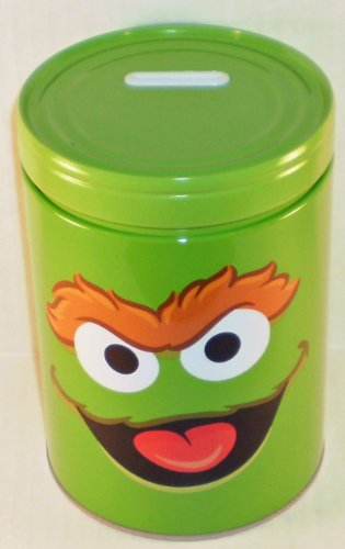 Sesame Street Oscar the Grouch Round Tin Bank with Easy-Off Lid