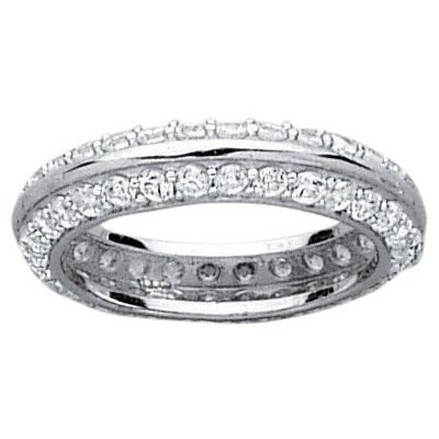 Sterling Silver Clear Cubic Zirconia 5 mm Eternity Band Ring - Size 5