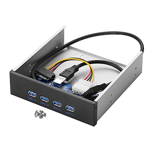 SIENOC USB 3.0 Front Panel Floppy disk bay 20 Pin 2 Ports hub Bracket Cable Color Black (4 USB 3.0 3.5