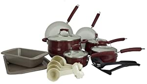 New Paula Deen 18-Piece Kitchen Porcelain Cookware Set Nonstick Pots Pans - Red