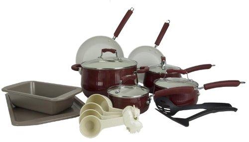 New Paula Deen 18-Piece Kitchen Porcelain Cookware Set Nonstick Pots Pans - Red
