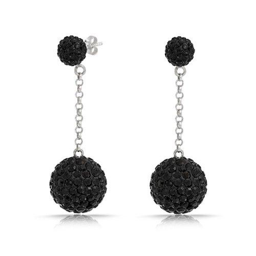 Bling Jewelry Black Crystal Disco Ball Shamballa Inspired Dangle Earrings