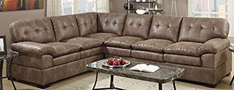 2-Pieces Sectional Set in Mocha Finish by Poundex