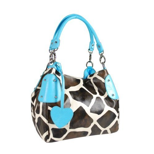 Blue Giraffe Animal Print Women Handbag Purse Tote Hobo Bag