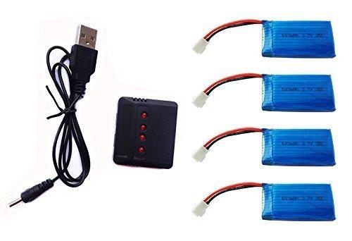 HB HOMEBOAT® 3.7V 500mAh Batterie pour Traxxas QR-1 Hubsan X4 H107L H107C H107D UDI U816A RC Quadcopter (4PCS) avec 4 en 1 X4 Chargeur de batterie