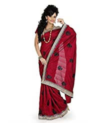Designersareez Women Bhagalpuri Silk Embroidered Maroon Saree With Unstitched Blouse(646)