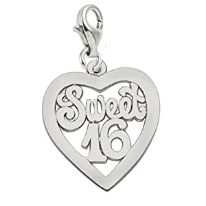 Rembrandt Charms Sweet 16 Charm with Lobster Clasp, 14k White Gold
