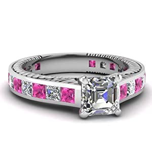Fascinating Diamonds 2.50 Ct Asscher Cut Diamond & Pink Sapphire Vintage Engagement Ring VS2-F 14K GIA