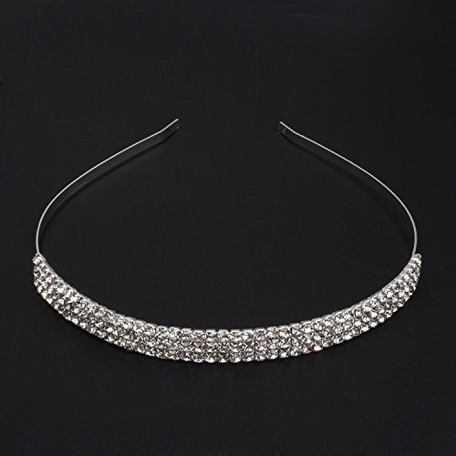 Weddign Bridal Silver Plated 3 Rows Cz Rhinestone Hair Band Headband Fashion Brand New Jewelry front-353854