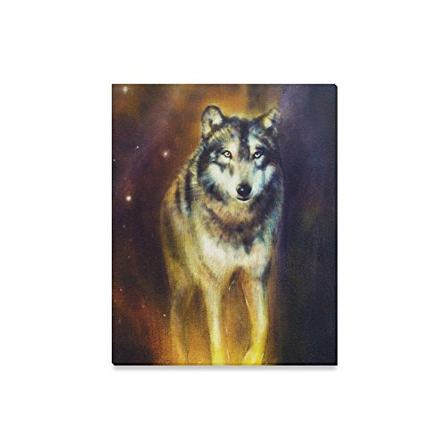 InterestPrint Artistic Graphic Design Coyote Wolf Beast Canvas Wall Art Print Oil Painting Hanging Artwork Stretched and Gallery Canvas Ready to Hang for Home Decorations 16 X 20 Inches