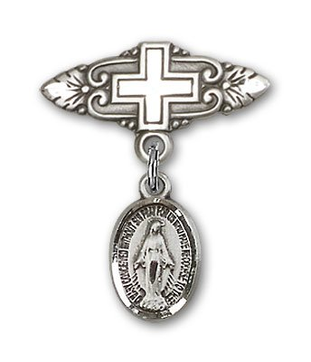 Sterling Silver Baby Badge with Miraculous Charm and Badge Pin with Cross