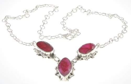 925 Sterling Silver Created RUBY Necklace, 17