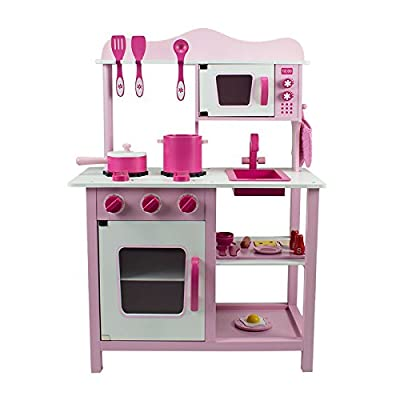 Bopster Childrens Pink Wooden Toy Kitchen with 20 Piece Accessories Set