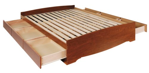 Prepac Monterey Cherry Queen Platform Storage Bed (6-drawers)