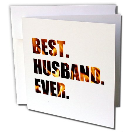 Gc_179732_2 Inspirationzstore Typography - Best Husband Ever - Cut Out Of Orange Black Fiery Flames Fire Graphic - Greeting Cards-12 Greeting Cards With Envelopes
