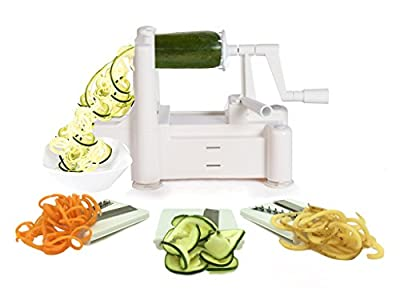 Spiralizer Tri-Blade Vegetable Spiral Slicer, Strongest-Heaviest, Best Veggie Pasta Spaghetti Maker for Low Carb/Paleo/Gluten-Free Meals