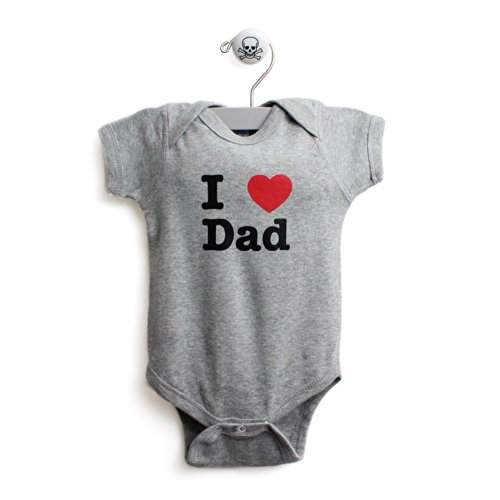 I Love Dad Baby One Piece Baby Body Suit In Color Grey