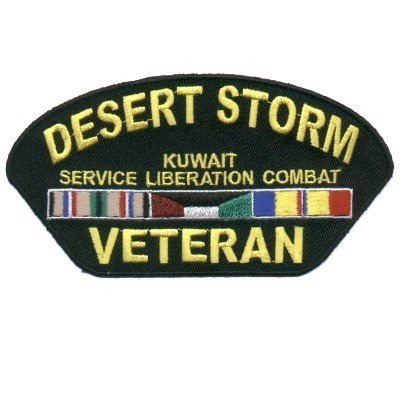 DESERT STORM VETERAN Biker VET Military Ball Cap Patch!