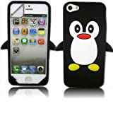 Silicone Case Cover Skin And Screen Protector For Apple iPhone 5 / Penguin Black
