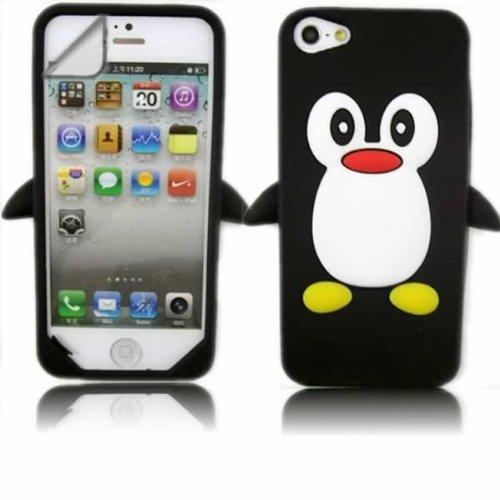 Silikon Hülle Tasche Und LCD-Displayschutzfolie für Apple iPhone 5 / Pinguin Schwarz