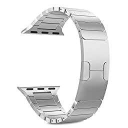 MoKo Apple Watch Band Series 1 Series 2, [with Custom Butterfly Closure, Double Button Clasp], Stainless Steel Replacement Link Bracelet for 42mm Apple Watch All Models - SILVER (Not Fit iWatch 38mm)