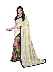 Vishal Multicolor Chiffon & Georgette Saree with blouse piece
