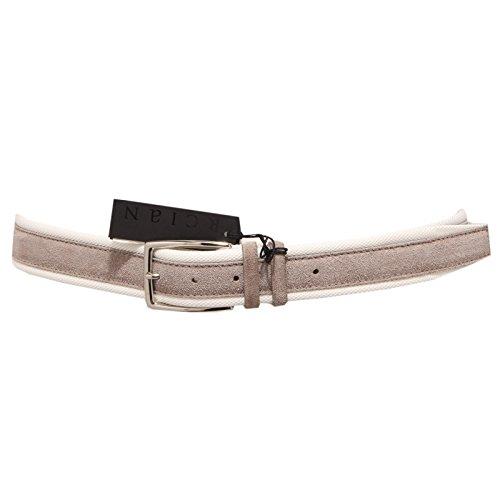 3434Q cintura uomo ORCIANI tortora/avorio suede hand made belt men [105 CM]