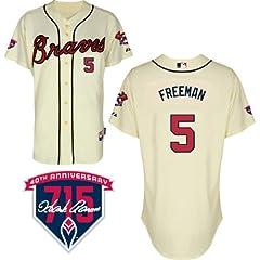 Freddie Freeman Atlanta Braves Alternate Ivory Authentic Cool Base Jersey w  Hank... by Majestic