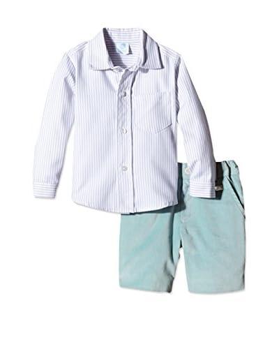 Elisa Menuts Conjunto Camisa + Bermuda Verde Agua / Gris