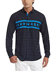 Dennison Men's Casual Shirt (SS-16-413_38_Navy Blue)