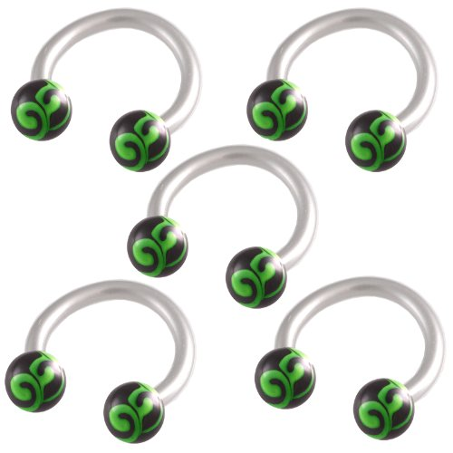 16g 16 gauge 1.2mm 5/16 8mm steel circular barbell horseshoe bar ring lip ear tragus studs eyebrow FBVV Body Pierced Jewellery 5Pcs
